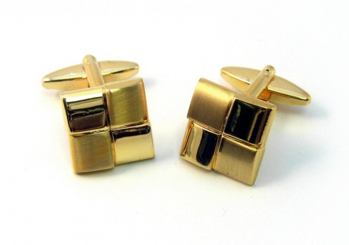 Gold Coloured Square Quartered Cufflinks